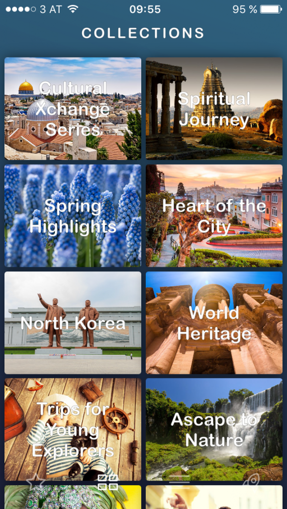 Travel inspiration with Ascape: a sample of the provided collections
