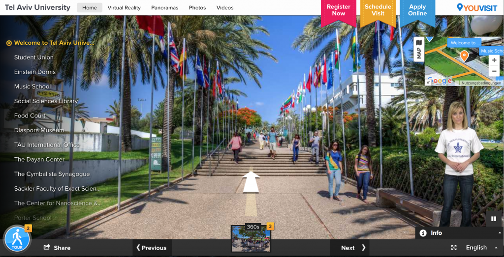 Virtual discoveries with YouVisit: Tel Aviv University with the tour guide Michelle