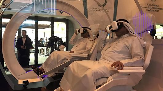 Visitors at the World Government Summit in Dubai experiencing Mars 2117 in VR. Photo: Arjun Kharpal/CNBC